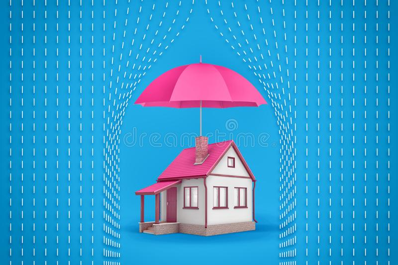 3d rendering of a small family house stands under a large open pink umbrella which protects the house from symbolic. White rain dashes. Private security. Home royalty free stock image
