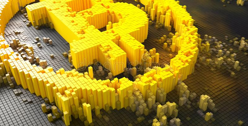 3d rendering of small golden dice forming a bitcoin symbol stock illustration