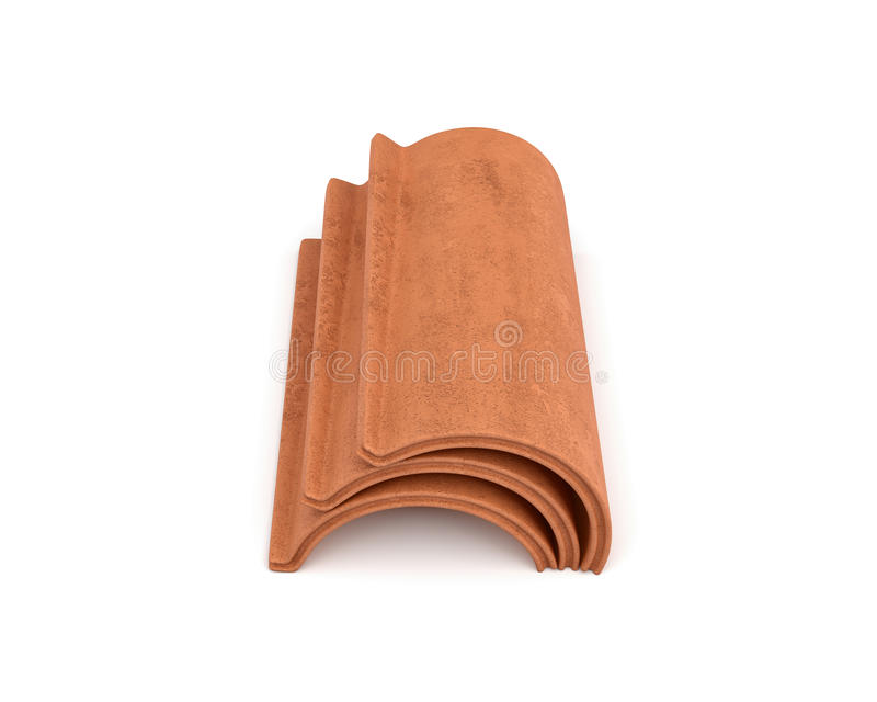3d rendering of a small group roof tile lying in front view isolated on white background. Roof building. Construction supplies. Traditional building materials royalty free illustration