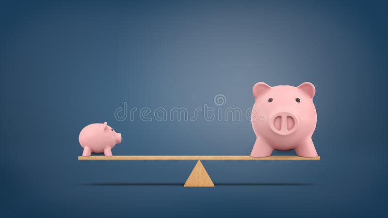3d rendering of a small piggy bank in side view stands on a wooden seesaw balanced with a large piggy bank in front view stock photos