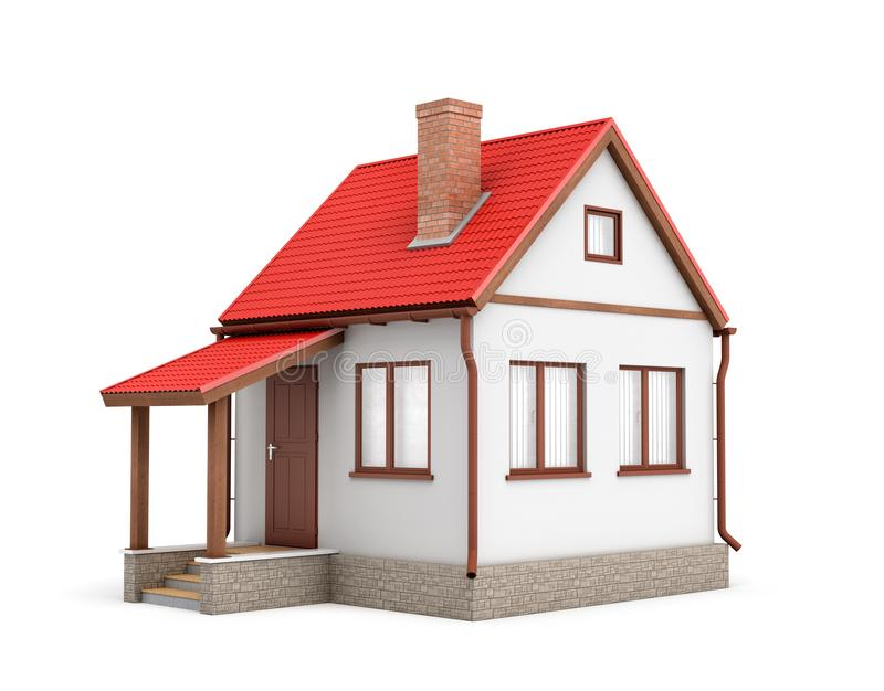 3d rendering of a small residential house with a chimney and a red roof on a white background. stock illustration