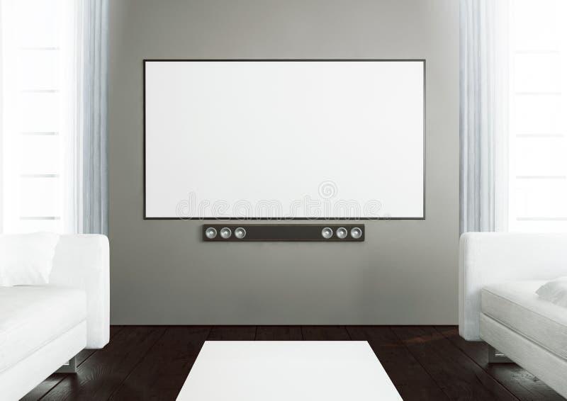 Wooden living room with smart tv. 3d rendering of smart tv on a wooden living room royalty free illustration