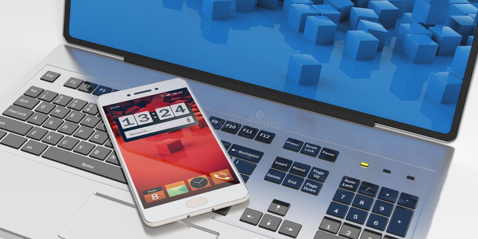 3d rendering smartphone on a laptop vector illustration