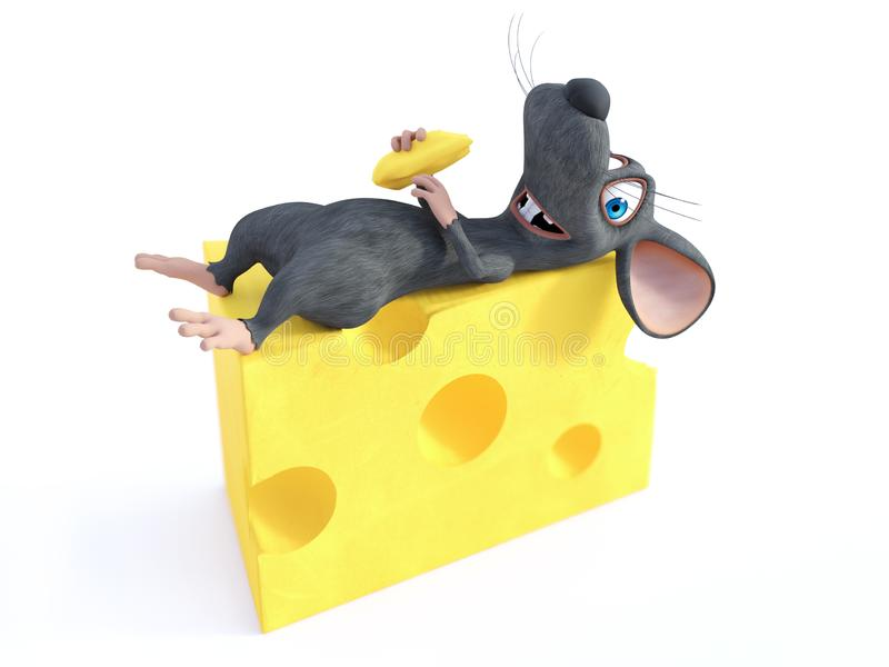 3D rendering of a smiling cartoon mouse lying on cheese stock illustration