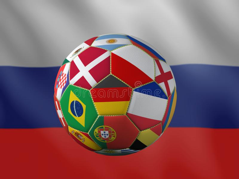 3D rendering of soccer ball with national flags stock illustration