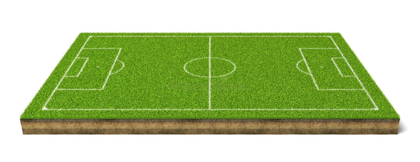 3d rendering of a soccer grass sport field with white lines royalty free stock photo