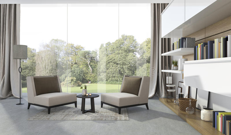 Download 3d Rendering Soft Armchair In Living Room Near Garden Stock Illustration - Image: 83708537