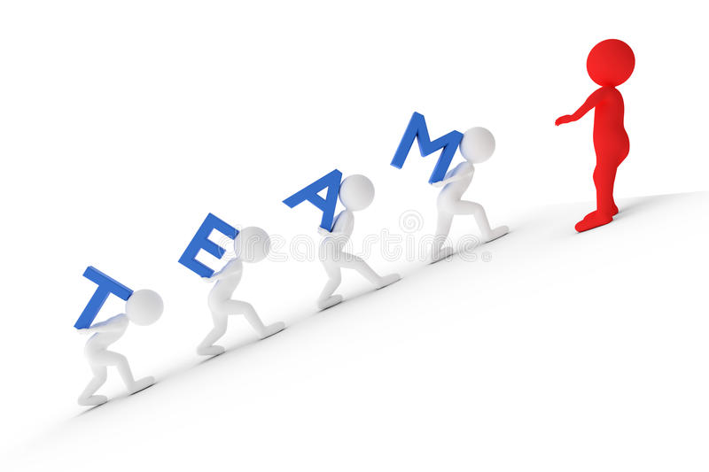 3D rendering from some clay characters who are carrying the word TEAM to the Manager on top of a hill stock illustration