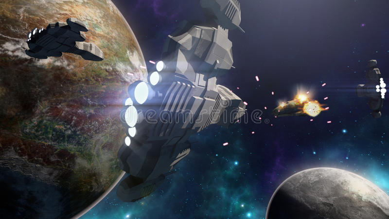 3D rendering of spaceship battle in a futuristic scene royalty free illustration