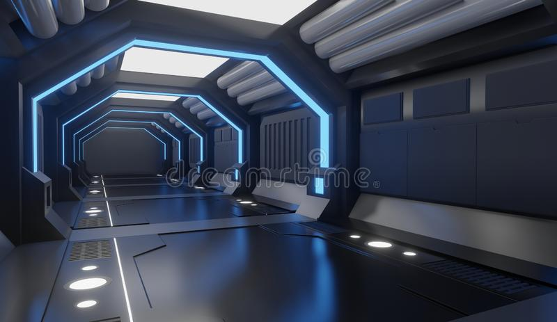 3D rendering Spaceship black interior with blue light,tunnel,big corridor, futuristic vector illustration