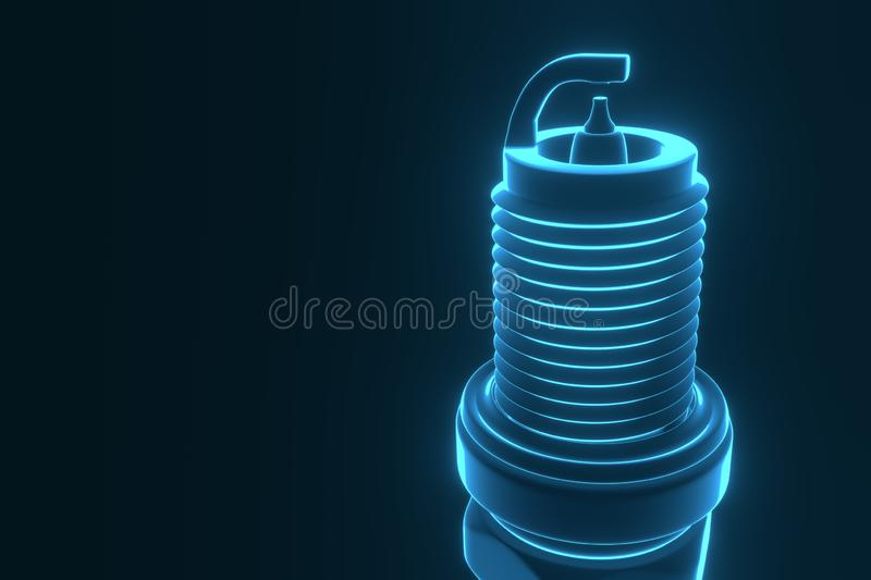 3D rendering. Spare parts spark plugs on blue background vector illustration