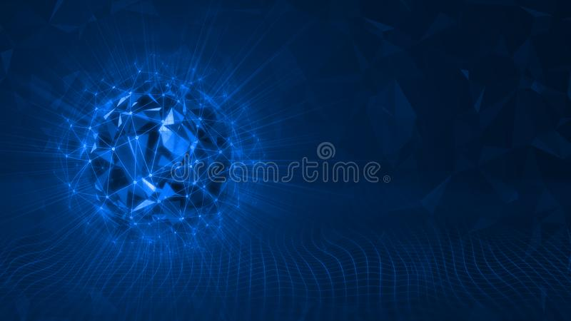 3D Rendering of spherical triangle geometry shapes surrounded with wire frame mesh grid network and glowing leak lights stock illustration