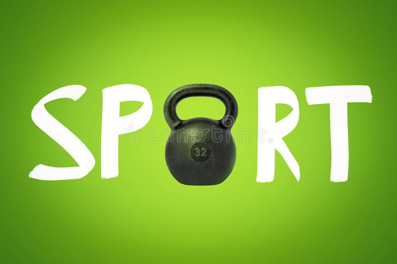 3d rendering of SPORT sign with black kettlebell instead of O letter on green background stock photo