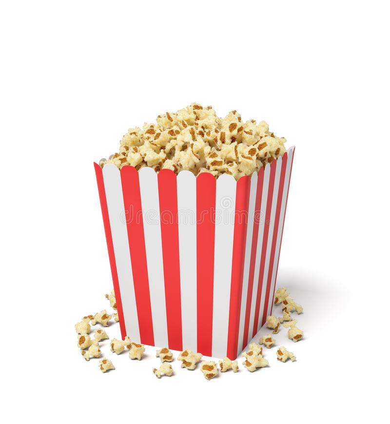 3d rendering of a square striped popcorn bucket with popcorn overflowing of it. vector illustration