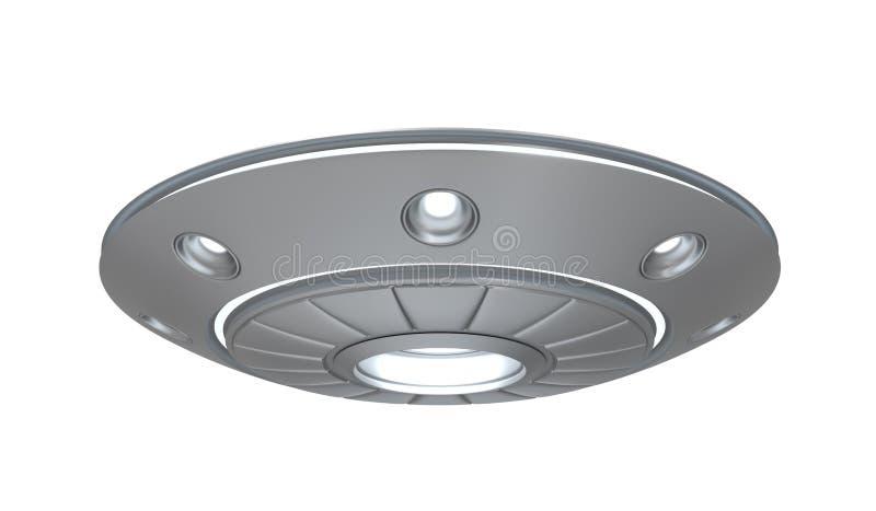 3d rendering srebny metalu ufo odizolowywający na białym tle ilustracja wektor
