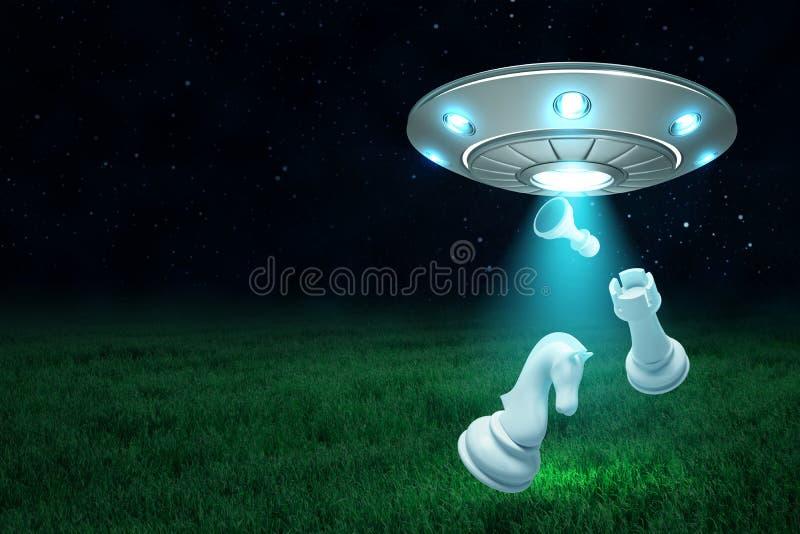 3d rendering srebny metalu UFO z szachowymi kawałkami na ciemnego nocnego nieba i zielonej trawy tle royalty ilustracja