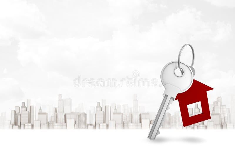 3d rendering srebro klucz i domowy kształt wpisujemy fob na białym miasta tle ilustracja wektor