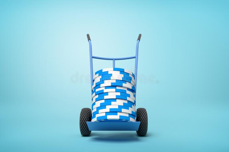 3d rendering of stack of blue and white poker chips on blue hand truck on light-blue background with copy space. Casino industry. Gaming equipment. Successful royalty free illustration