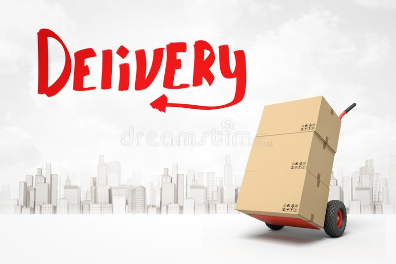 3d rendering of stack of cardboard boxes on hand truck and red title `Delivery` against background of gray and white stock illustration