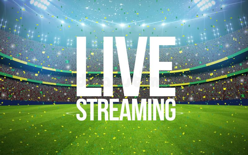 Stadium live streaming. 3d rendering stadium with live streaming text royalty free illustration