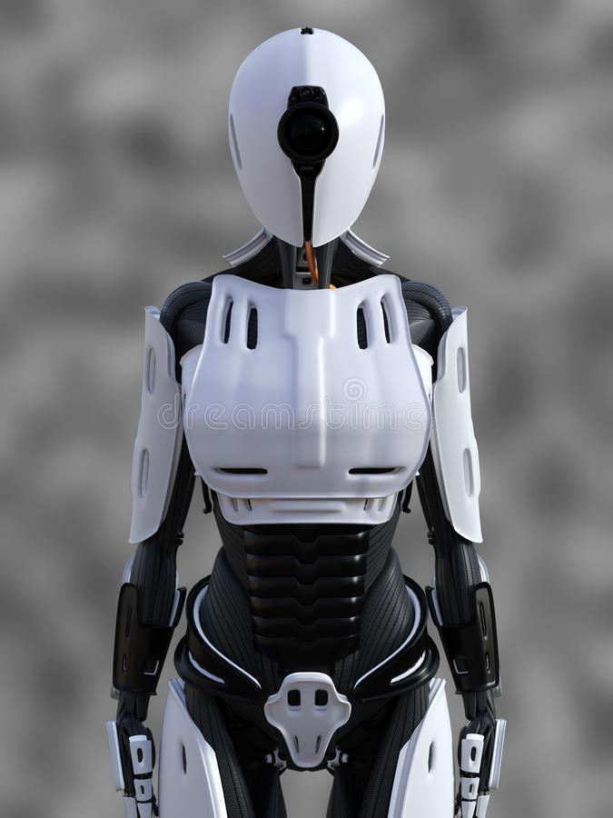 3D rendering of a standing female android robot. 3D rendering of a female android robot standing against a gray background royalty free illustration