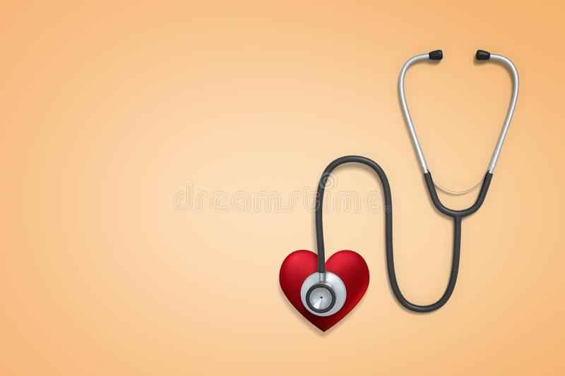 3d rendering of a stethoscope with a red stylized heart attached to the chestpiece on a light background with lots of. Copy space left. Help people. Save lives royalty free illustration