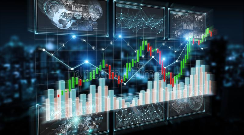 3D rendering stock exchange datas and charts illustration stock illustration