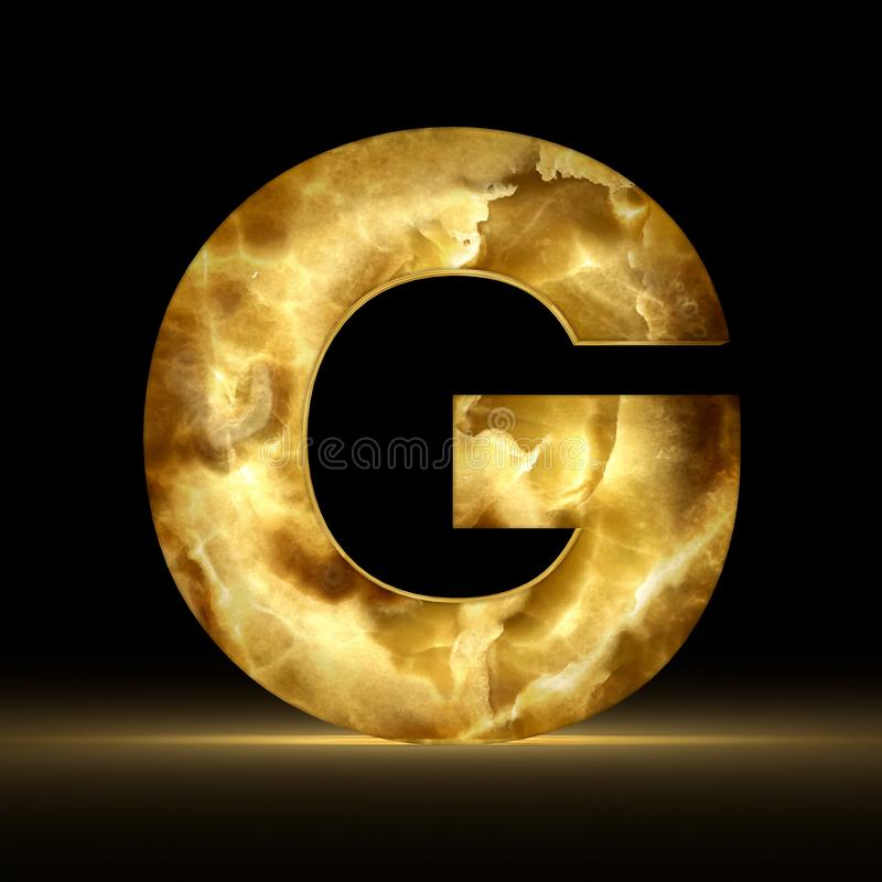 3D rendering stone onyx letter G isolated on black background. Signs and symbols. Alphabet luminous gemstone. Textured materials royalty free illustration