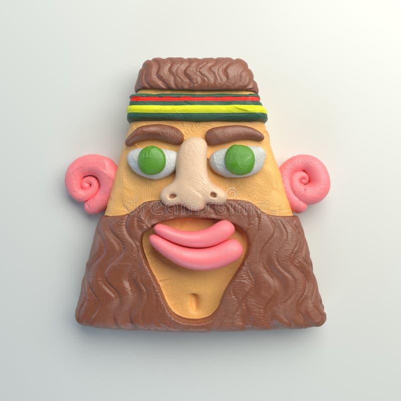 3d rendering stylizowana kreskówki głowa Kolorowa plasteliny postać ilustracji
