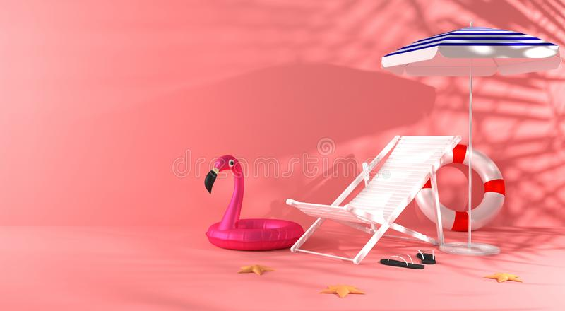 3d rendering summer colored background . A chaise lounge, umbrella, slippers, starfish, inflatable flamingo circle with shadows. vector illustration