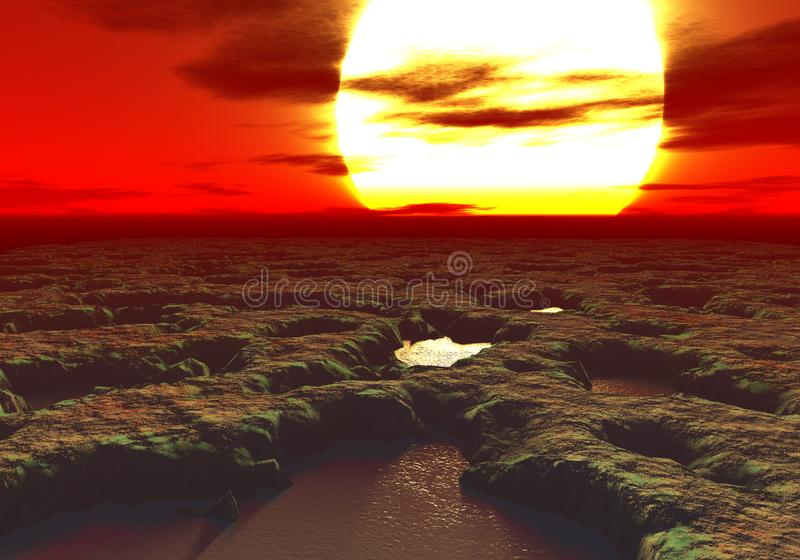 3D rendering of a sunset on an alien planet with pools of mud everywhere. The sun is gigantic and the pools look dangerous and poisoned stock illustration