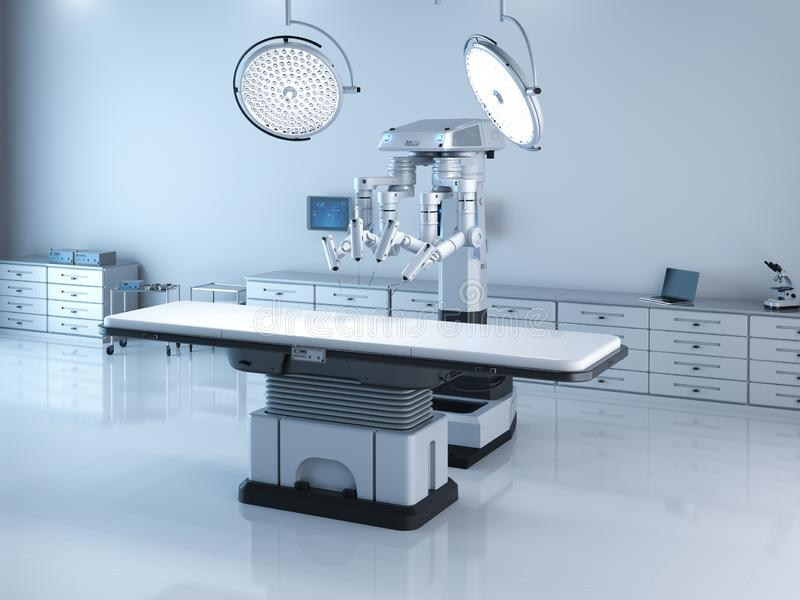 Surgery room with robotic surgery royalty free illustration