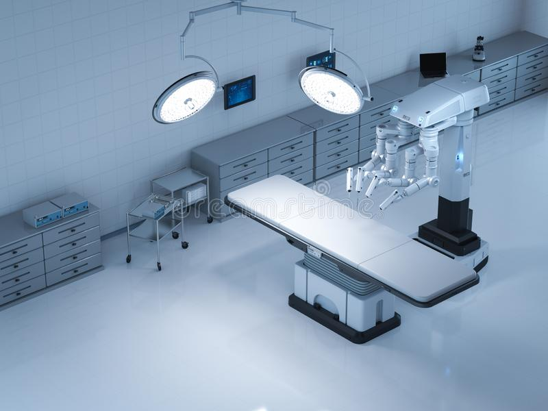 Surgery room with robotic surgery stock illustration