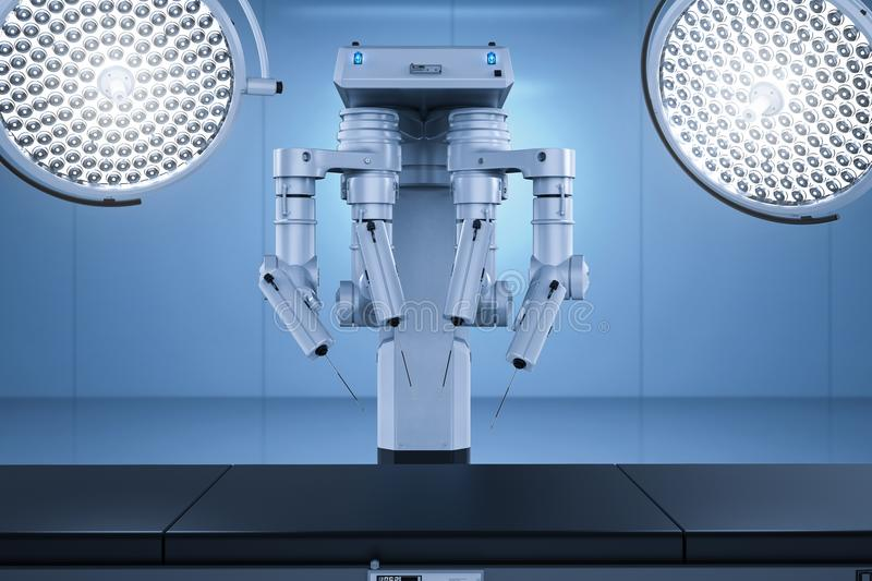 Surgery room with robotic surgery. 3d rendering surgery room with robotic surgery machine stock images