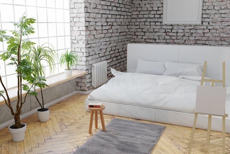 3d rendering sypialnia z białą cegły ścianą i parkietową podłoga ilustracja wektor