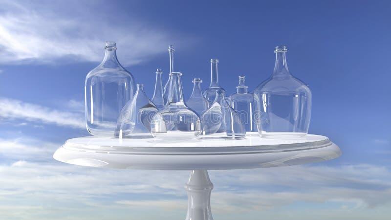 3D rendering - szklani naczynia na stole przeciw niebu, zdjęcia stock