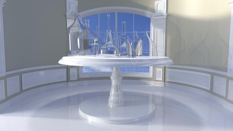3D rendering - szklani naczynia na stole przeciw okno, fotografia stock