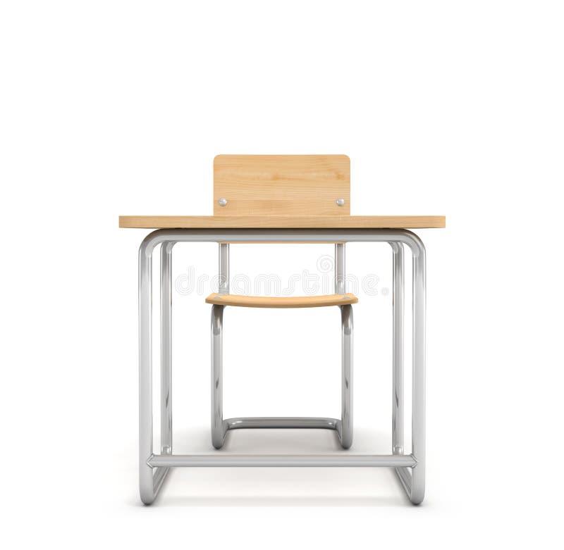 3d rendering szkolny biurko i przewodniczy oba zrobi żelaza i światła drewno odizolowywający na białym tle ilustracji