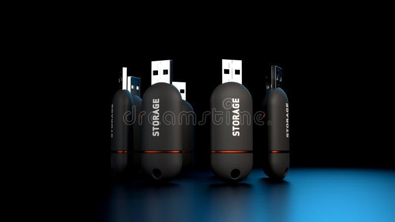 3D rendering szyk USB kciuka przejażdżki magazyn Wtyka ilustracja wektor