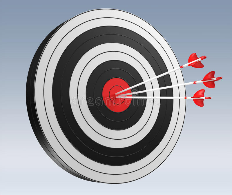 3D rendering target black white and red target with arrows. On grey background stock illustration