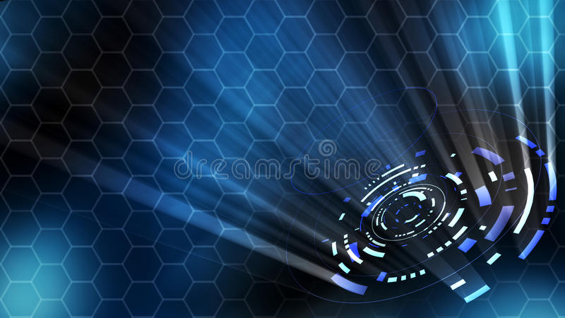 3D rendering of a technological abstract hud stock illustration