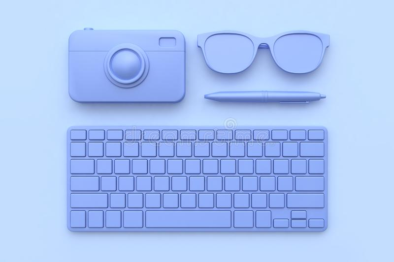 3d render technology concept keyboard camera pen glasses purple-violet all object abstract scene. 3d rendering technology concept keyboard camera pen glasses royalty free illustration