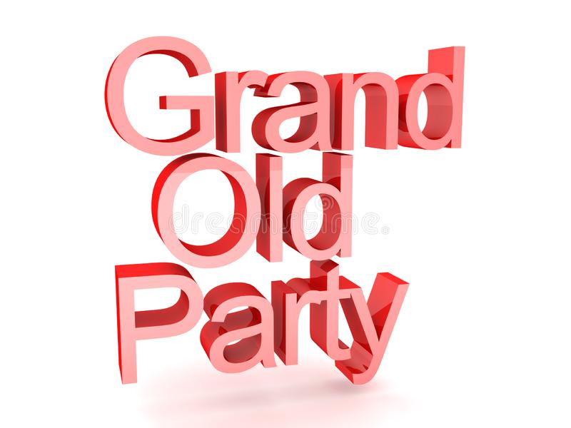 3D Rendering of text saying grand old party. 3D Rendering isolated on white vector illustration
