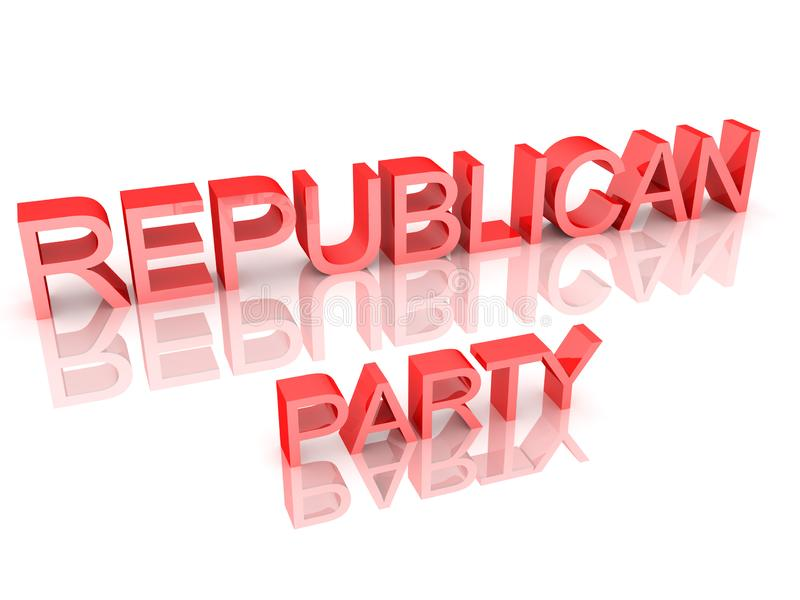 3D Rendering of text saying Republican Party. 3D Rendering isolated on white vector illustration