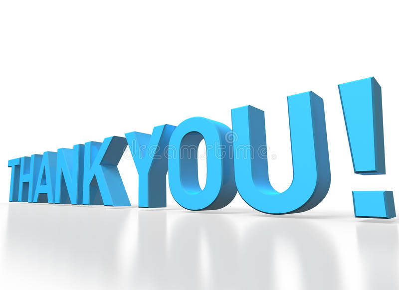 3d rendering of Thank you blue glossy text on white background royalty free illustration