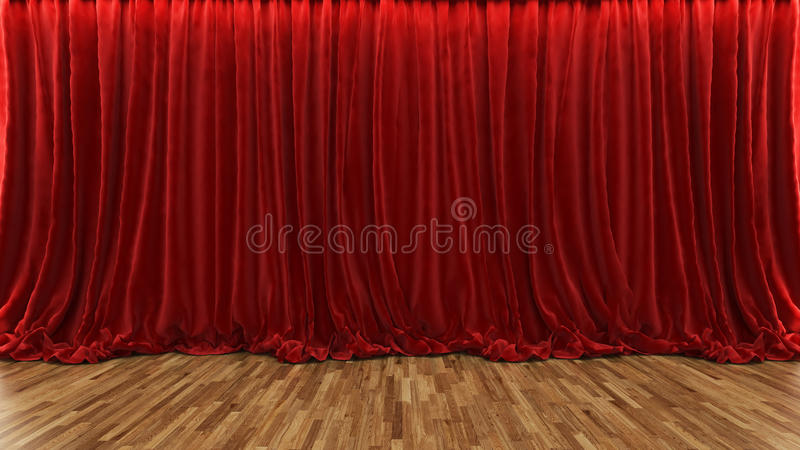 3d rendering theater stage with red curtain and wooden floor. 3d rendering red theater and cinema curtain with parquet floor stock illustration