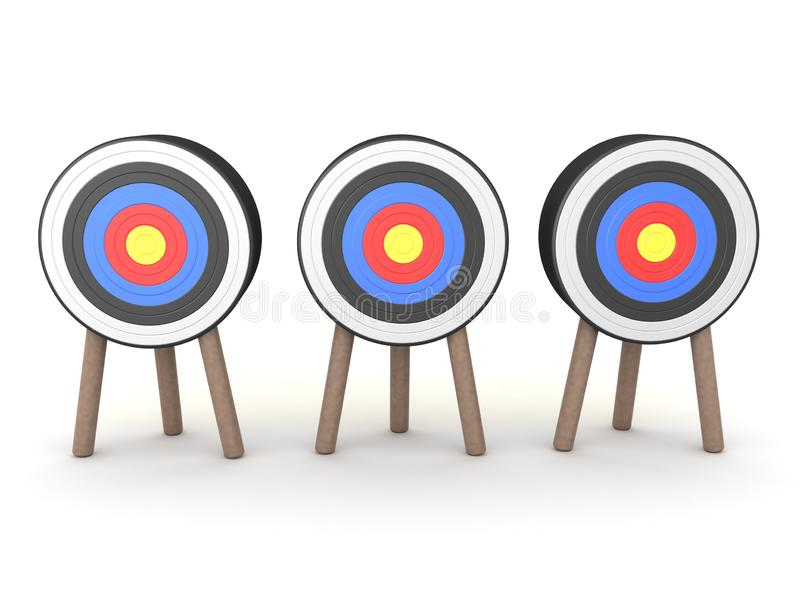 3D Rendering of three archery targets stock illustration