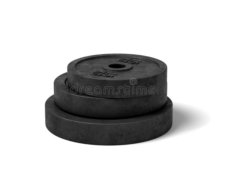 3d rendering of three black barbell weights of different weight lying on top of each other on a white background. vector illustration