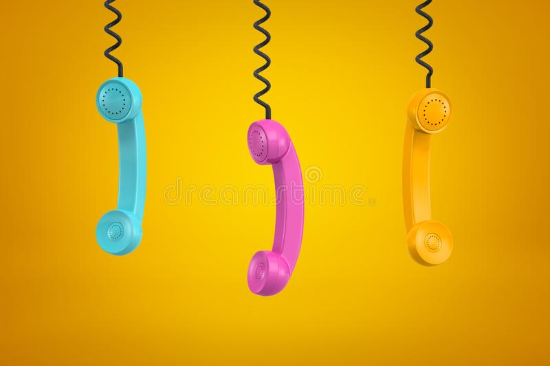 3d rendering of three colorful retro telephone receivers hanging on yellow background stock illustration