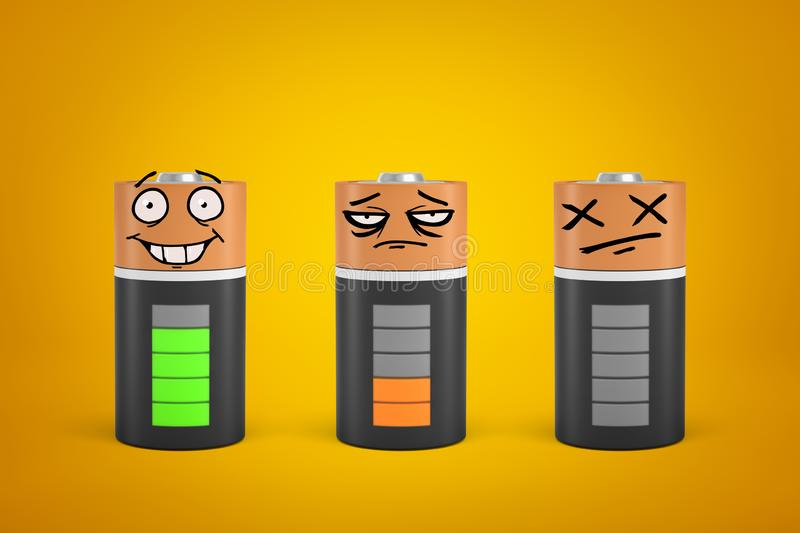 3d rendering of three smiley faced discharged and fully charged batteries on yellow background royalty free stock image